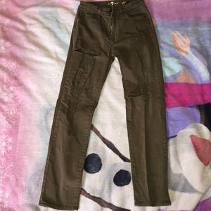 Green, slim pants